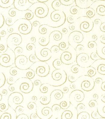 Christmas Cotton Fabric-Gold Glitter Swirl Vines on Cream
