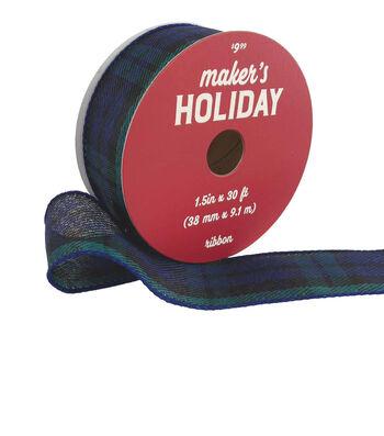 Maker's Holiday Christmas Ribbon 1.5''x30'-Navy & Green Plaid