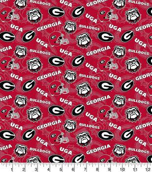 University of Georgia Bulldogs Cotton Fabric-Tone on Tone