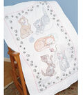 Jack Dempsey Stamped White Lap Quilt Top Kitty Cats