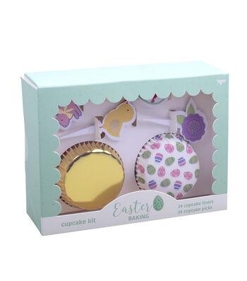 Easter Cupcake Liner & Pick Set-Gold Foil & Easter Eggs