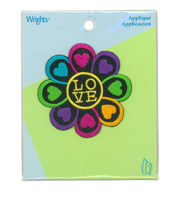 "Wrights Iron-On Appliques-Love Flower 2-3/4"" 1/Pkg"
