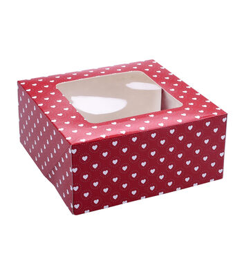 Valentine's Day Square Cookie Box-Red Hearts