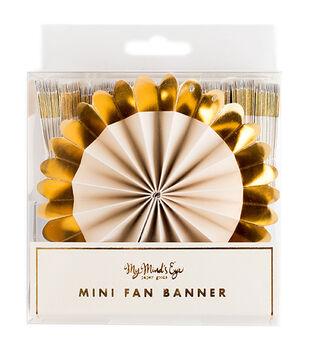 Mini Paper Gold Foil Fans