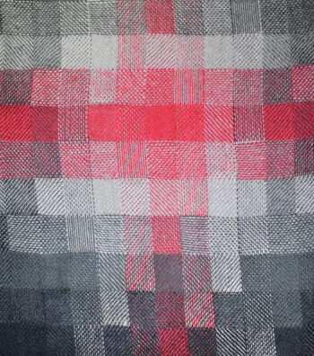 Sportswear Acrylic Fabric-Black & Red Pixel Squares