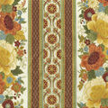 Premium Quilt Cotton Fabric-Floral Border Cream Metallic