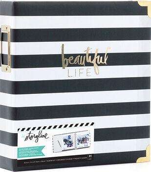Heidi Swapp Storyline2 D-Ring Album Kit-Black Stripes