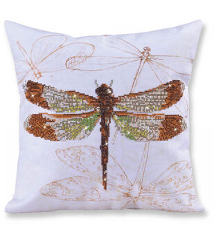 Diamond Dotz Decorative Pillow Kit-Dragonfly Earth