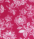Blizzard Fleece Fabric Pink White Trailing Floral