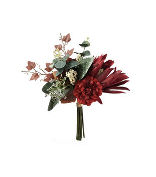Blooming Autumn Protea, Berry & Leaf Bouquet-Burgundy