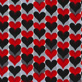 Novelty Cotton Fabric-Black, White & Red Hearts