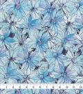 Keepsake Calico Cotton Fabric-Watercolor Floral Purple Blue