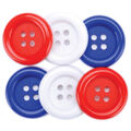 Favorite Findings Buttons-Red/White/Blue 6/pk
