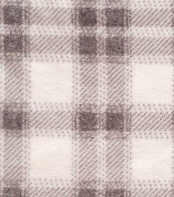 Luxe Fleece Fabric -White & Gray Plaid