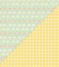 Beginnings Double-Sided Cardstock 12\u0022X12\u0022-Animal Stripe/Yellow Gingham