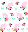 Nursery Flannel Fabric 42\u0027\u0027-Bright Unicorn & Florals