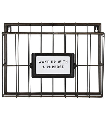 Metal Wire Wall Bin 9.5''x13''-Wake Up with a Purpose