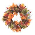 Blooming Autumn Pumpkin, Lantern, Pinecone, Berries & Leaves Wreath