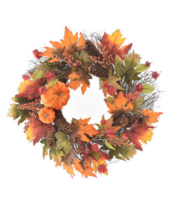 Blooming Autumn Pumpkin, Lantern, Pinecone, Berries & Leaves Wreath
