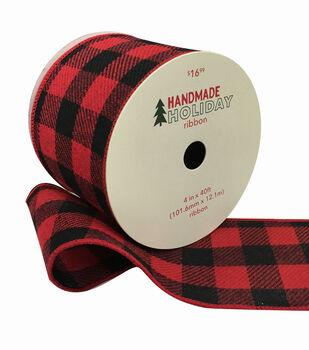 Handmade Holiday Christmas Flannel Ribbon 4''x40'-Red & Black Checks