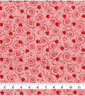 Valentine\u0027s Day Glitter Cotton Fabric-Hearts & Scrolls on Pink