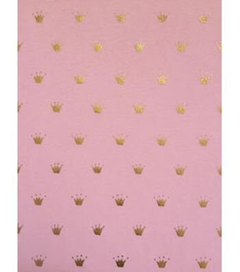 Doodles Juvenile Apparel Fabric 57''-Foil Crown on Pink