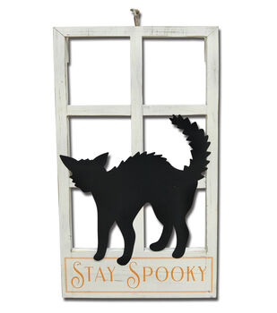 Maker's Halloween Window Wall Decor with Cat Silhouette-Stay Spooky