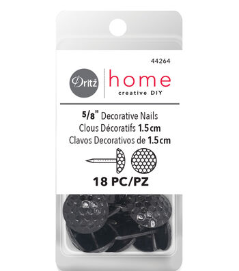 "Dritz Decorative Nails 5/8"" Hammered Black 18 Ct"