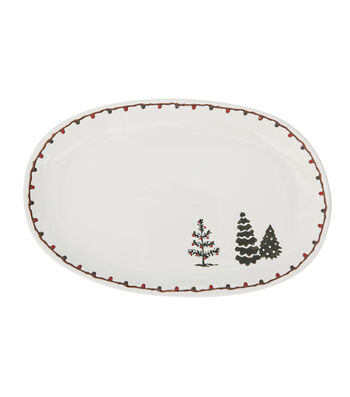 3R Studios Christmas Oval Stoneware Plate with Trees-Cream