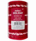 Maker\u0027s Holiday Decorative Mesh Ribbon 5.5\u0027\u0027x30\u0027-Red with White Puffs