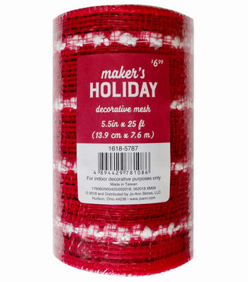 Maker's Holiday Decorative Mesh Ribbon 5.5''x30'-Red with White Puffs