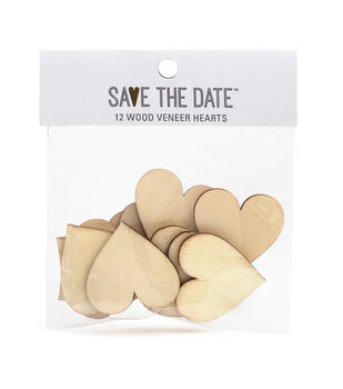 Save the Date 12 pk 1.55''x1.58'' Wood Veneer Hearts
