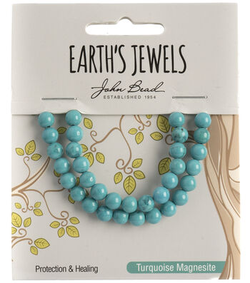Earth's Jewels Semi-Precious Round 6mm Beads-Turquoise Magnesite