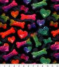 Snuggle Flannel Fabric-Bone Heart Tie Dye