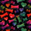 Snuggle Flannel Fabric-Tie Dye Bones & Hearts
