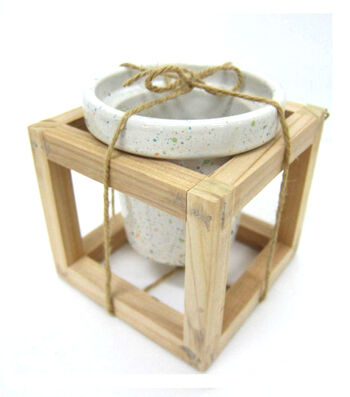 Hello Spring Gardening Speckled Pot with Wood Frame