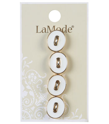 LaMode 2 Hole White & Gold Oval Buttons