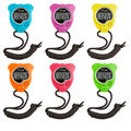 Champion Sports Stop Watch, Neon Colors, Set of 6
