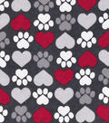Snuggle Flannel Fabric -Hearts & Paws on Gray
