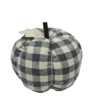 Simply Autumn Large Pumpkin with Leaf-Gray Plaid