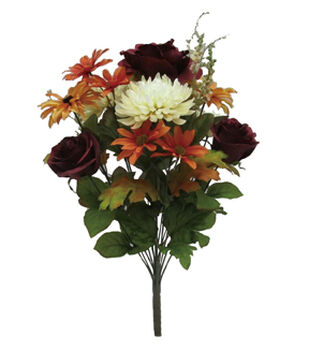 Bloom Room 22'' Rose, Mum & Daisy Mixed Bush-Burgundy & Cream