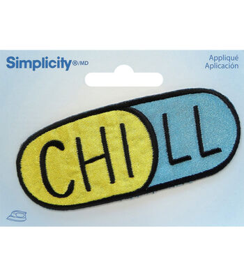 Simplicity Embroidered Iron-On Applique-Chill Pill