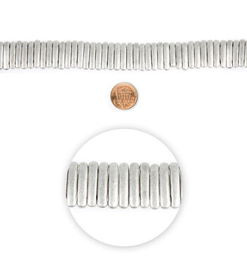 """Blue Moon Beads 7"""" Strand Metal Spacer Bar 2 Hole Oxidized Silver"""