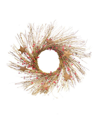 Blooming Holiday 24'' Berry, Rustic Star & Twig Wreath