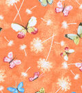 Snuggle Flannel Fabric -Butterflies on Coral