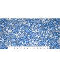 Snuggle Flannel Fabric -Flower Scroll Blue