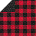 Double Faced Quilt Fabric-Black Cable Plaid