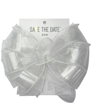 Save the Date 2.5'' Sheer Bow-White