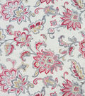 Anti-Pill Plush Fleece Fabric-Cream Rust Large Floral