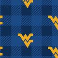 West Virginia University Moutaineers Fleece Fabric-Buffalo Plaid